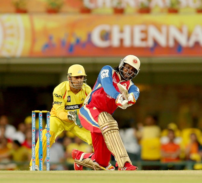 Gayle smashed three boundaries and three sixes during his fluent knock of 46