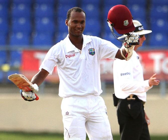 Brathwaite celebrates after scoring his maiden Test century