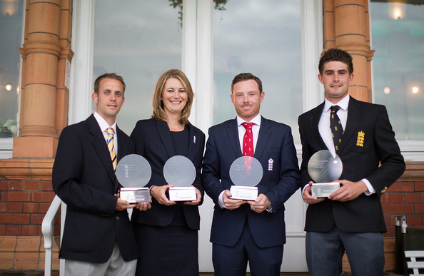 (From left to right) George, Taylor, Bell and Rhodes pose with their respective awards