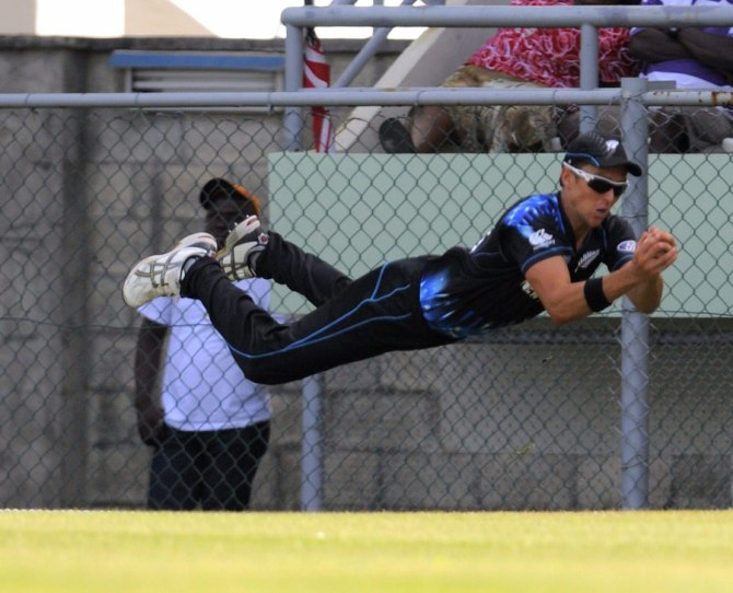 Boult took a sensational catch to dismiss Pollard