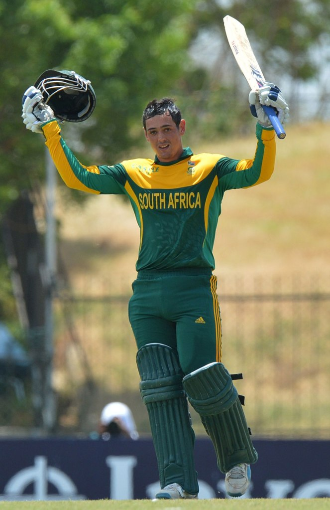 De Kock celebrates after scoring his fifth ODI century