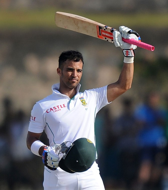 Duminy celebrates after scoring his fourth Test century