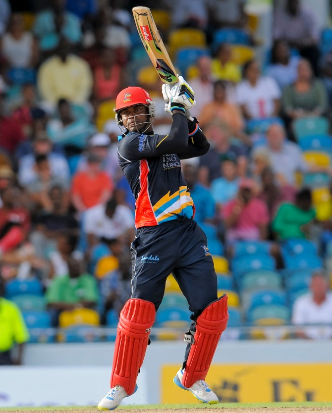 Samuels hammered four boundaries and four sixes during his valiant knock of 66