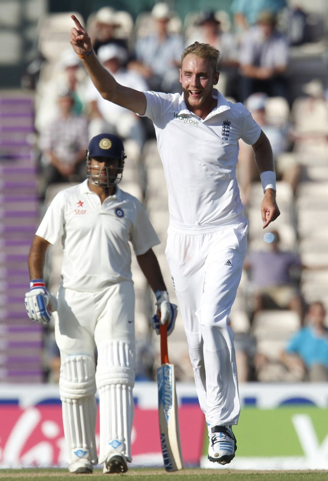 Vijay, Pujara and Kumar all fell victim to Broad