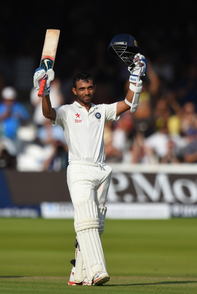 Rahane is all smiles after bringing up his second Test century
