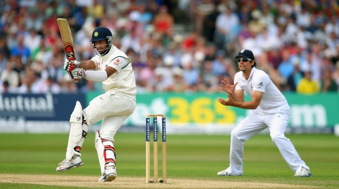 Pujara hit seven boundaries during his knock of 55