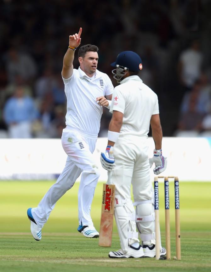 Anderson dismissed Dhawan, Kohli, Binny and Rahane