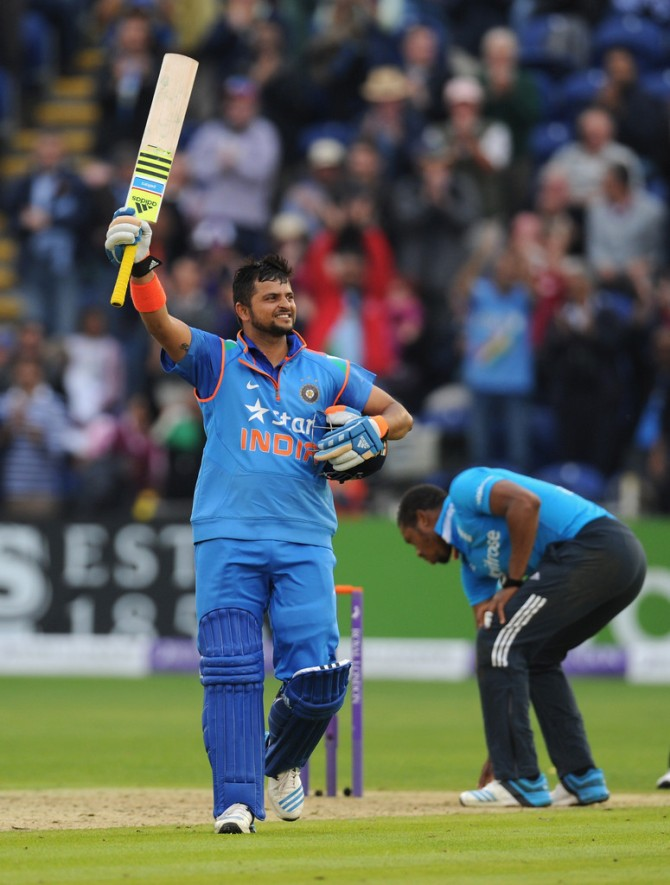 Raina celebrates after scoring his fourth ODI century