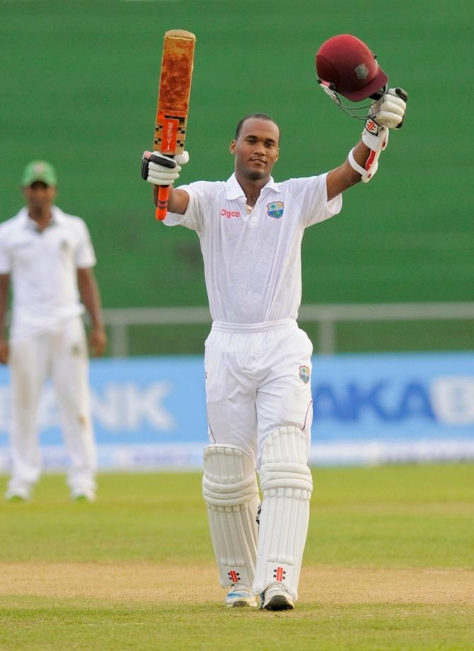 Brathwaite celebrates after scoring his maiden double century