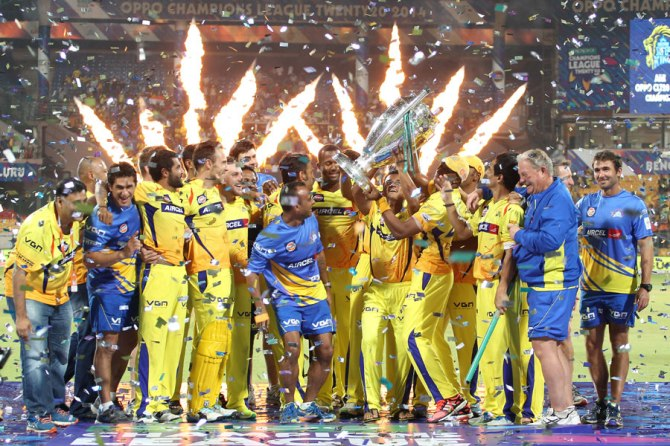 The Chennai Super Kings celebrate after winning the CLT20