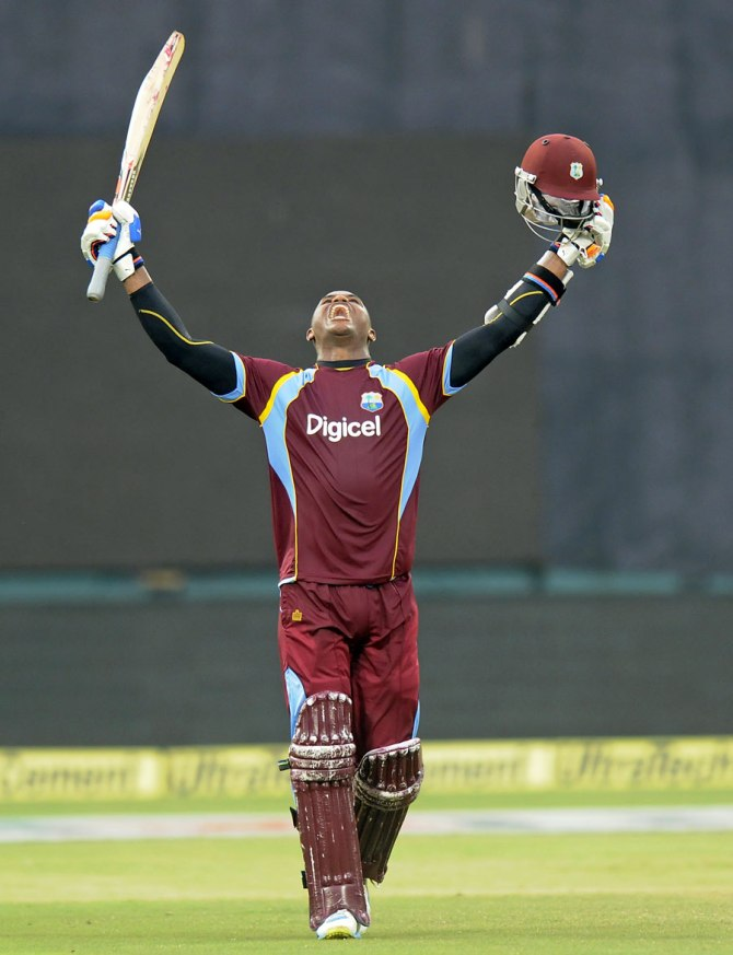 Samuels is ecstatic after bringing up his sixth ODI century