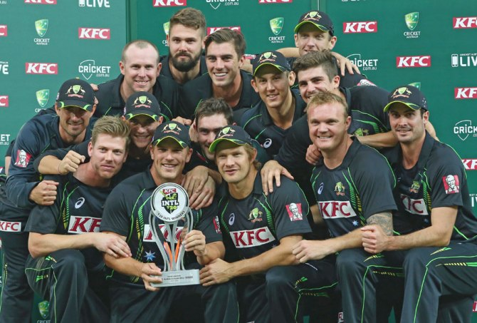 Australia celebrate after winning the series 2-1