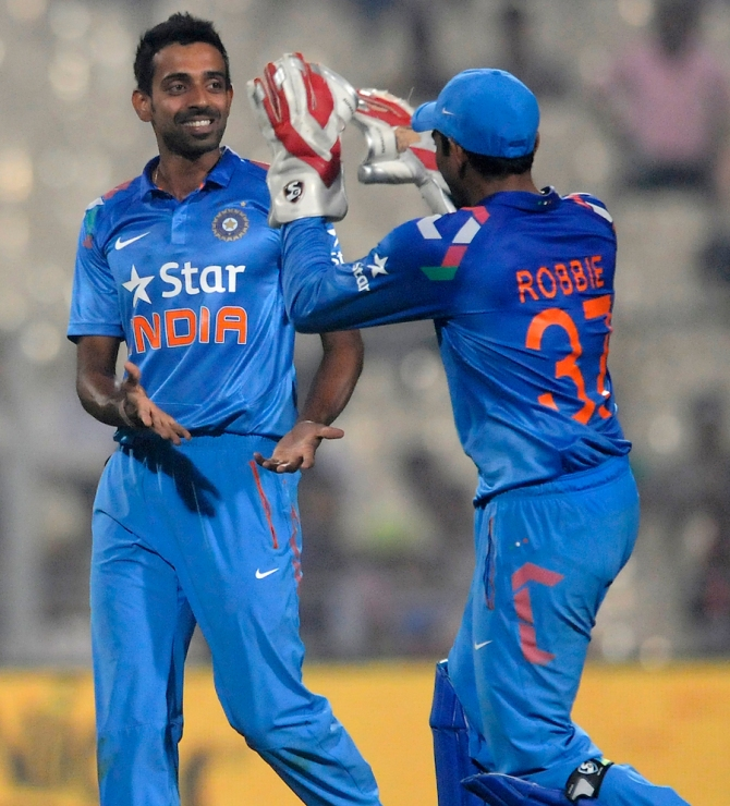 Kulkarni (left) has only represented India in four ODIs