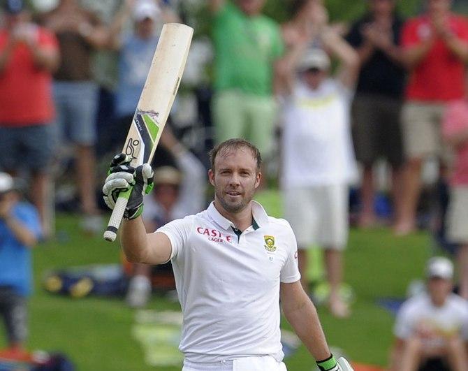De Villiers celebrates after scoring his 20th Test century