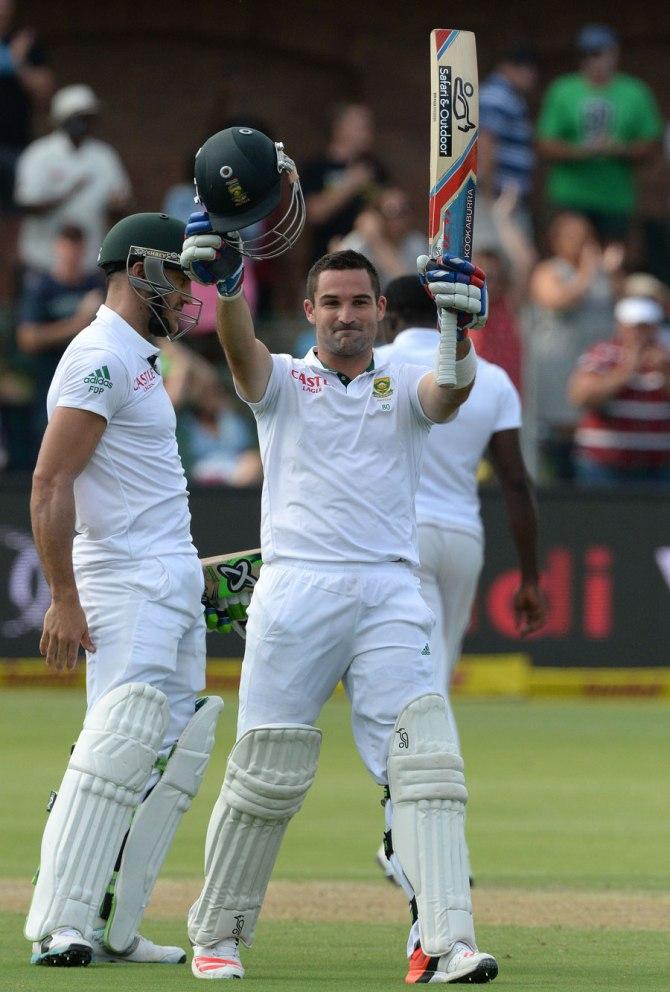 Elgar celebrates after scoring his third Test century