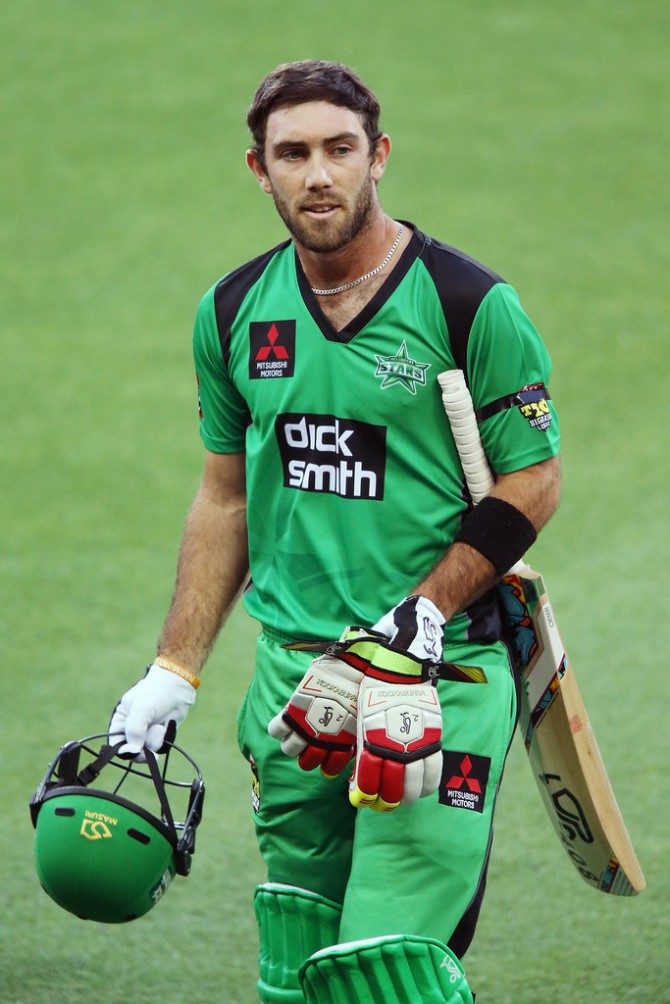 Maxwell was fined for hitting the advertising hoarding with his bat