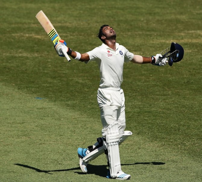 Rahul looks up to the heavens after scoring his maiden Test century