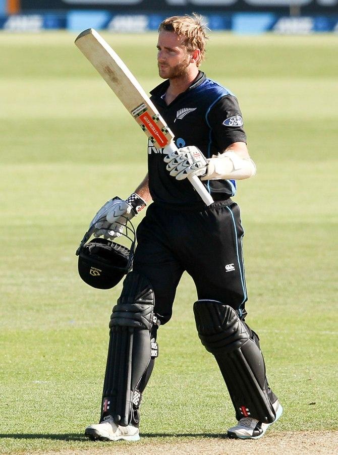Williamson celebrates after scoring his fifth ODI century
