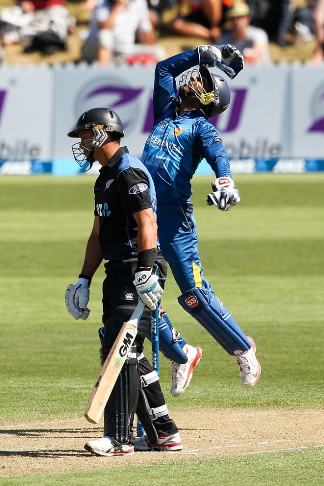 Sangakkara overtook Adam Gilchrist as the wicketkeeper with the most dismissals in ODIs