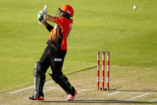 Carberry smashed six boundaries and six sixes during his entertaining knock of 77