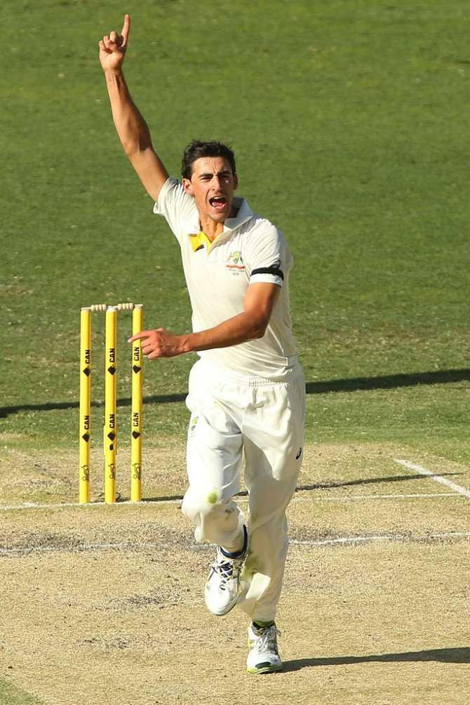 Starc took two wickets in the second Test against India in Brisbane