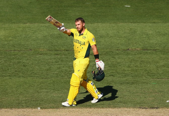 Finch celebrates after scoring his sixth ODI century