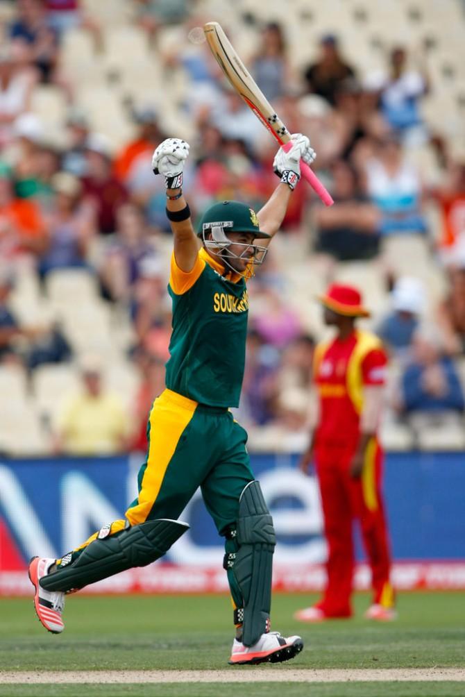 Duminy celebrates after scoring his fourth ODI century