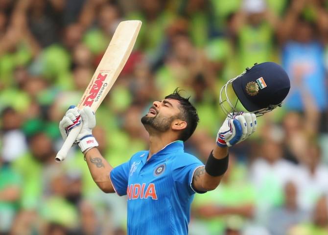 Kohli celebrates after scoring his 22nd ODI century