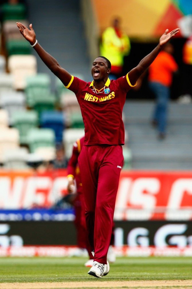 Holder was named Man of the Match for taking four wickets