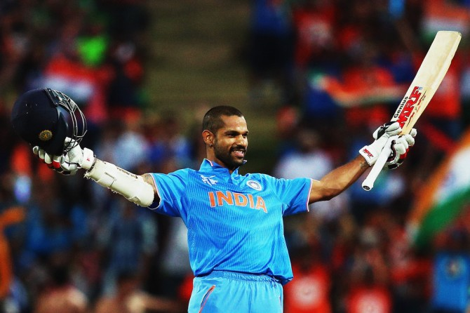 Dhawan breaks out his trademark celebration after scoring his eighth ODI century