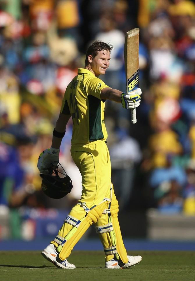 Smith celebrates after scoring his fourth ODI century
