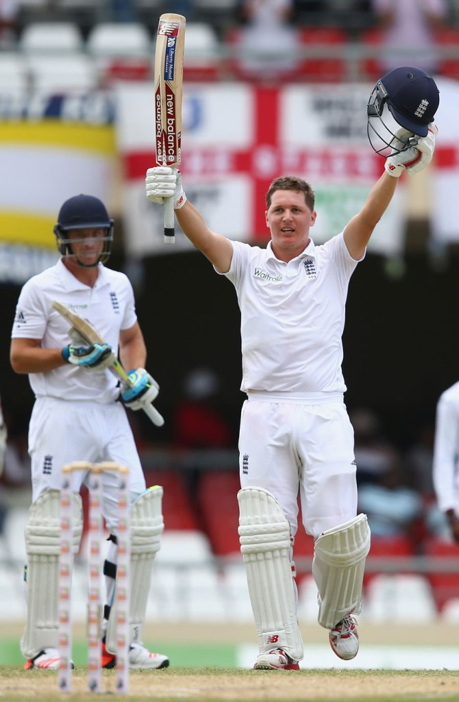 Ballance celebrates after scoring his fourth Test century