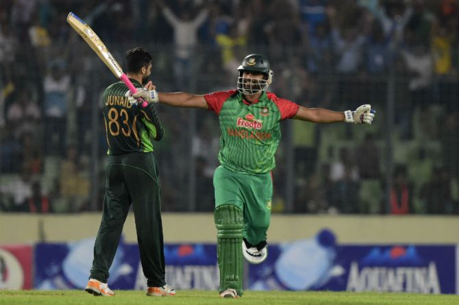 Iqbal celebrates after scoring his sixth ODI century