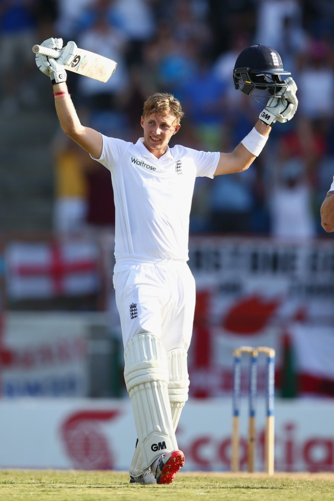 Root celebrates after scoring his sixth Test century