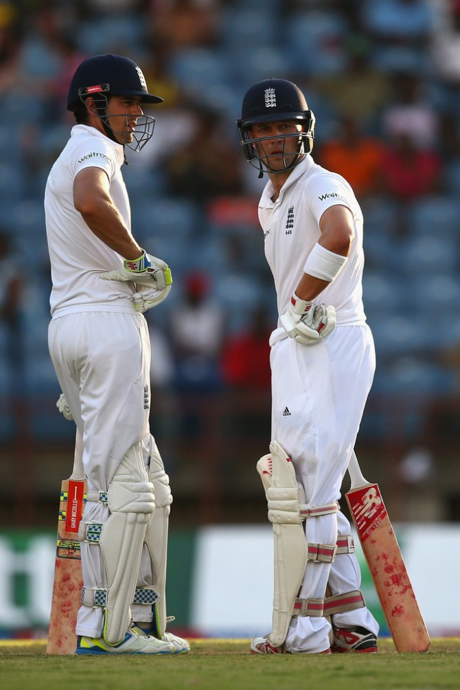 Cook (left) and Trott (right) put together an unbeaten 74-run partnership
