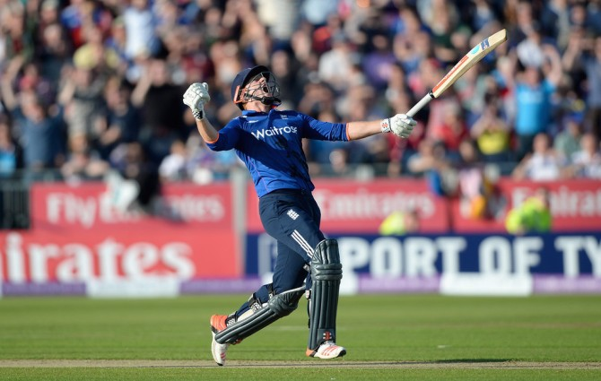 Bairstow exults after scoring the winning runs