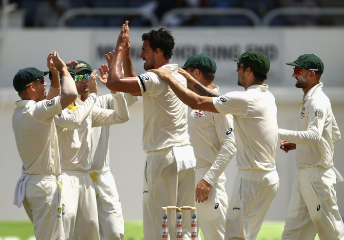 Starc dismissed Brathwaite and Chandrika in quick succession to leave Australia just eight wickets away from victory