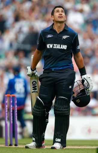 Taylor celebrates after scoring his 13th ODI century