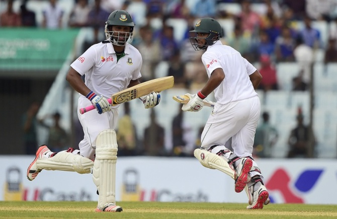 Iqbal (left) ended up scoring 57, while Mahmudullah (right) made 67