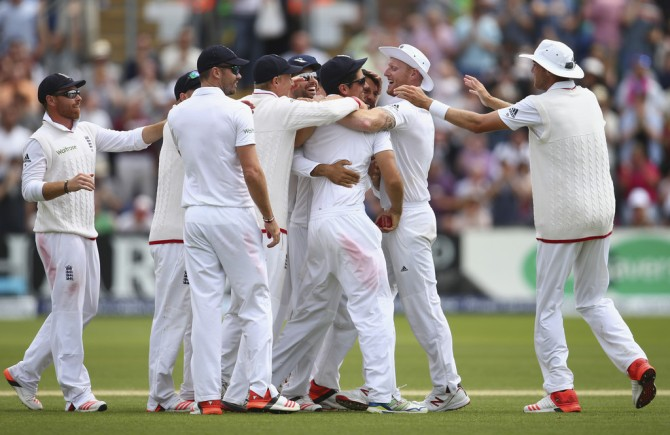 England celebrate after taking a 1-0 lead in the Ashes