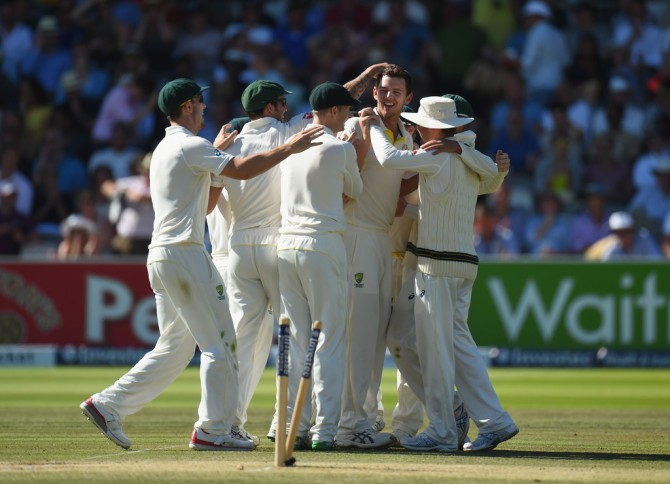 Australia celebrate after demolishing England by 405 runs and levelling the series at 1-1
