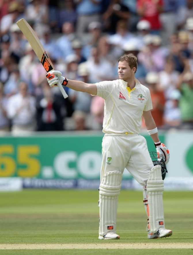 Smith celebrates after scoring his maiden double century
