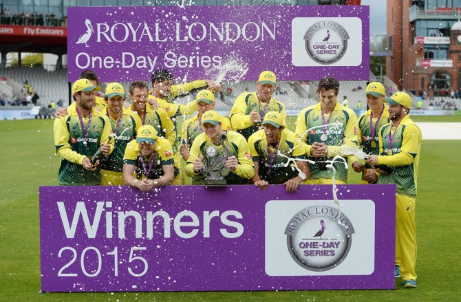 Australia celebrate after beating England 3-2 in the ODI series