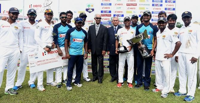 Sri Lanka celebrate after whitewashing the West Indies 2-0