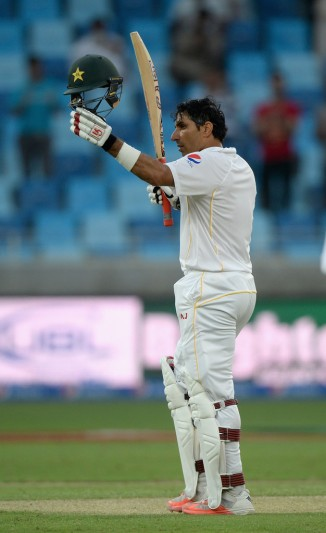 Ul-Haq celebrates after scoring his ninth Test century