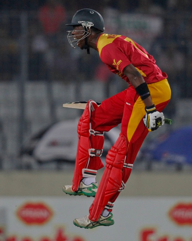 Madziva leaps in delight after hitting the winning runs