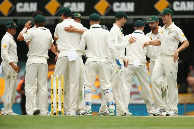 Australia celebrate after beating New Zealand by 208 runs