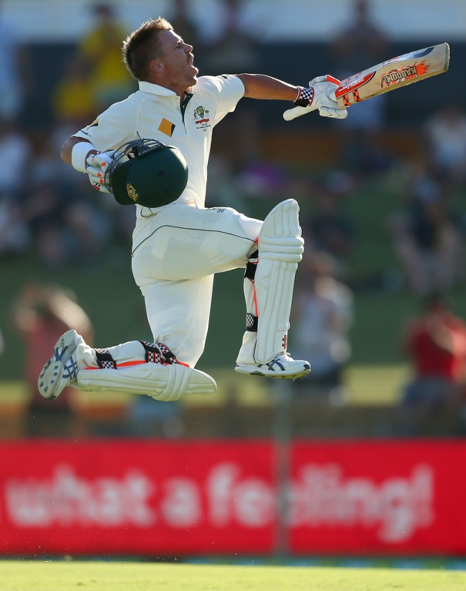 Warner leaps in delight after scoring his maiden double hundred