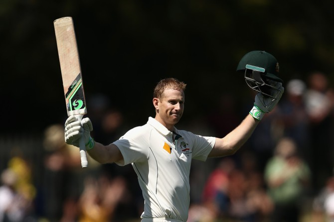 Voges celebrates after scoring his third Test century