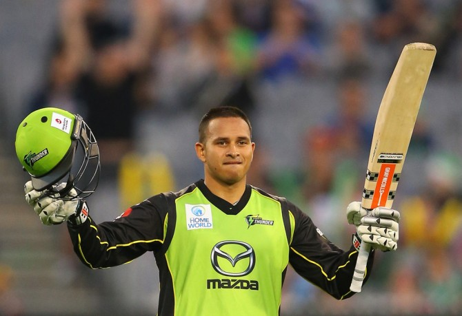 Khawaja celebrates after scoring his century